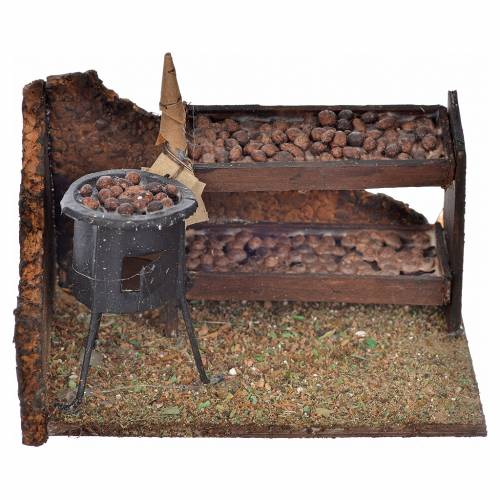 Neapolitan Nativity scene, chestnuts stall and oven 6x9x7cm s1