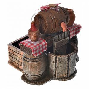 Neapolitan nativity setting, cellar with cask and water pump 9x1 s2