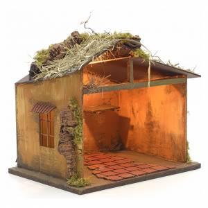 Neapolitan Nativity setting, illuminated stable with straw 30x35 s2