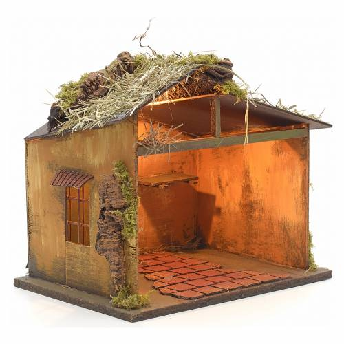 Neapolitan Nativity setting, illuminated stable with straw 30x35 s2