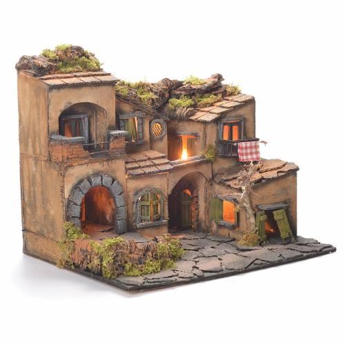 Neapolitan nativity, village 1700 style with grotto 45x35x33cm s2