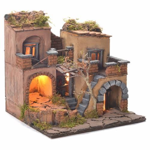 Neapolitan Nativity Village, 1700 style with oven 40x65x40cm s2