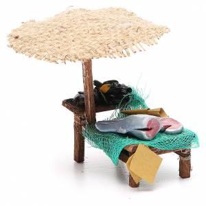 Negozio presepe con ombrello pesce cozze 12x10x12 cm s4