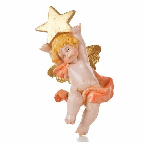 Ángel con estrella rosada Fontanini 7 cm. símil porcelana s1