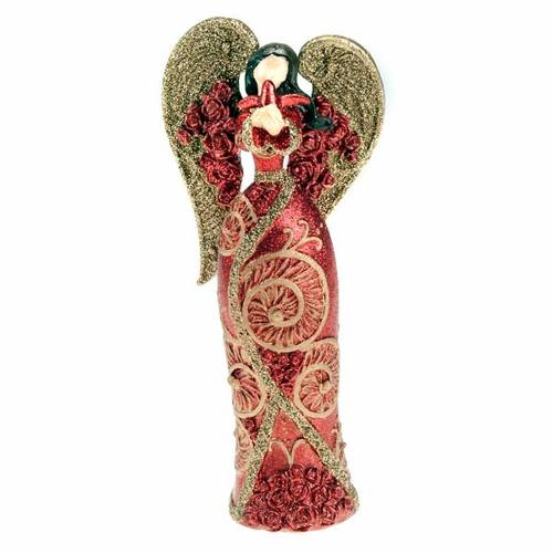 Ángel de resina paloma en la mano glitter rojo y dorado s1