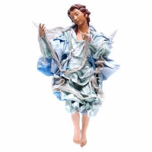 Belén napolitano: Ángel rojo 45 cm vestido azul belén Nápoles