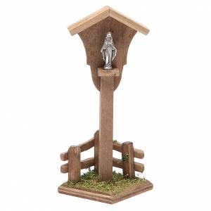 Nicchia legno Madonna per presepe h. 12x4,5x4,5 cm s1