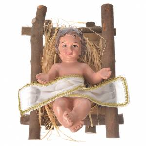 Estatuas del Niño Jesús: Niño Jesús con cuna 25 cm resina