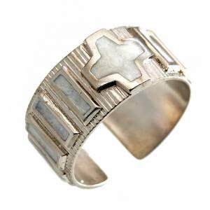 Obrączki z modlitwą: Obrączka dziesiątka srebro 800 emalia biała