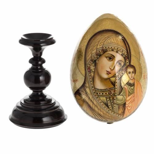Oeuf icône Russie Vierge de Kazan ton sur ton s8