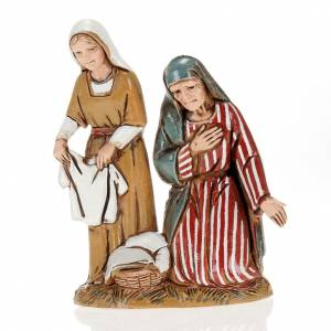 Old lady and child with cloths, nativity figurines, 10cm Moranduzzo s1