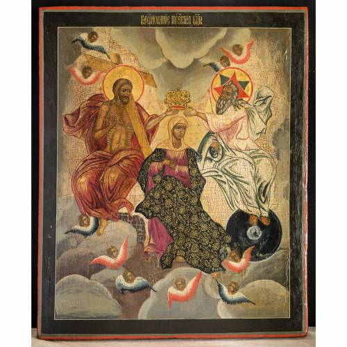 Old Russian Icon Coronation of the Mother of God s1