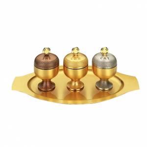 Oleje święte i akcesoria do chrztu: Oleje święte: zestaw trzech naczynek satynowanych i tacka