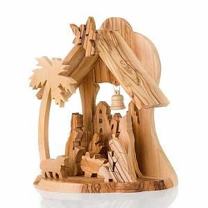 Jerusalem olive wood nativity scene: Olive wood crib with hut
