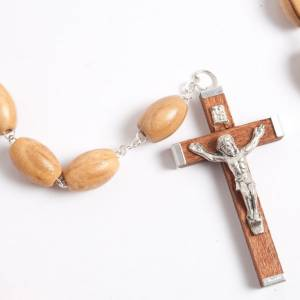 Olive wood rosary with large oval beads s2