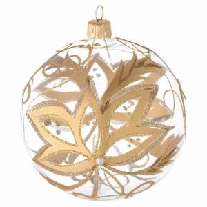 Ornement Noël boule verre fleurs or 100 mm s1