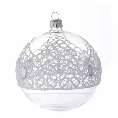 Ornement Noël en verre soufflé boule dentelle 100 mm s2