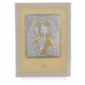 Bonbonnière: Orthodox Christ image favour with white Swarovski and silver 19x14cm
