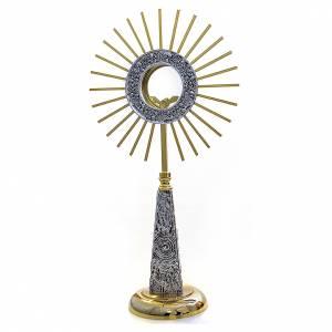 Ostensorio ottone fuso 60 cm oro argento s1