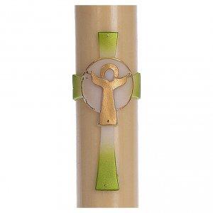 Kerzen: Osterkerze mit EINLAGE auferstanden Christus grünen Kreuz 8x120cm Bienenwachs