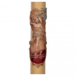 Kerzen: Osterkerze mit EINLAGE auferstandenen Christus bemalt 8x120cm