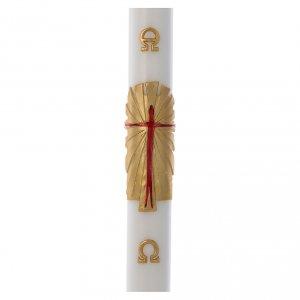 Kerzen: Osterkerze Wachs mit EINLAGE auferstandenen Christus 8x120cm