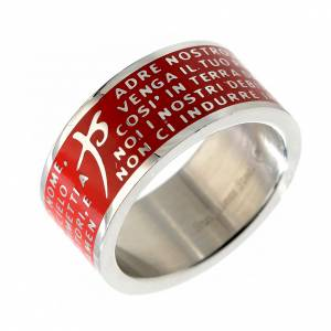 Prayer rings: Our Father prayer ring red - stainless steel LUX