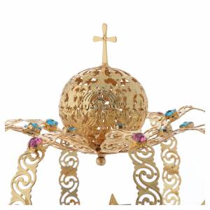 Our Lady crown golden brass - colored strass stars s3