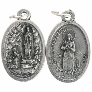 Our Lady of Lourdes oval medal in oxidised metal 20mm s1