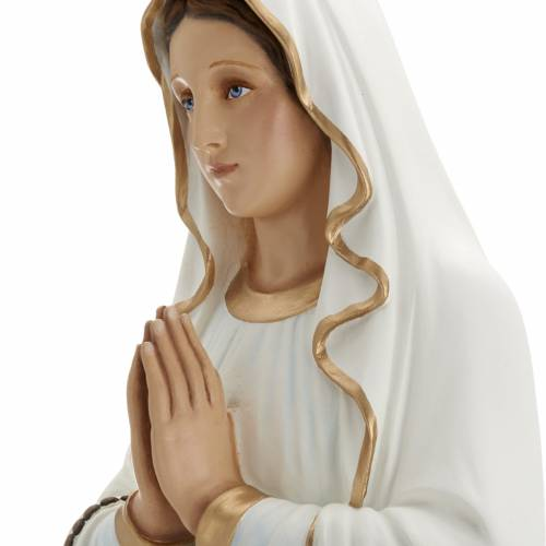 Our Lady of Lourdes statue, 85cm in painted reconstituted marble s6