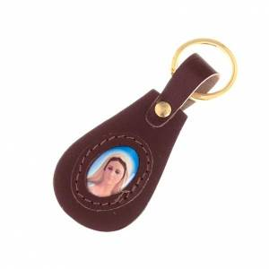 Key Rings: Our Lady of Medjugorje leather key ring, oval
