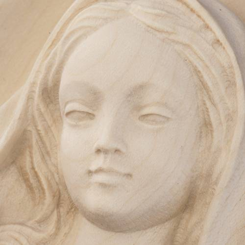 Our Lady, wall bas-relief in natural Valgardena wood s2