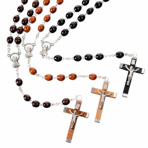 Oval 7 mm beads wood rosary s1