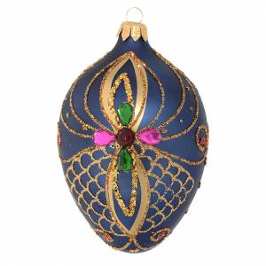 Oval Christmas bauble in blue and gold blown glass 130mm s1