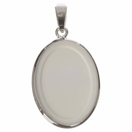 Oval medal in silver, 27mm Angels and flowers s2