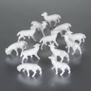 Animales para el pesebre: Ovejas 8-10 cm paquete 12 pz.