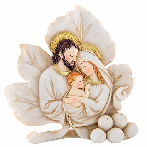 Painting Holy Family leaf shaped 8cm s1