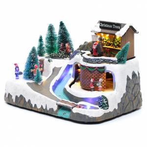 Pueblos navideños en miniatura: Paisaje navideño iluminado con musica y movimiento 20x25x20 cm