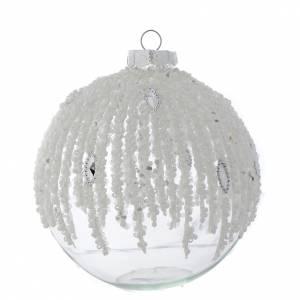 Palline di Natale: Palla Albero Natale 100 mm vetro trasparente decorato perline