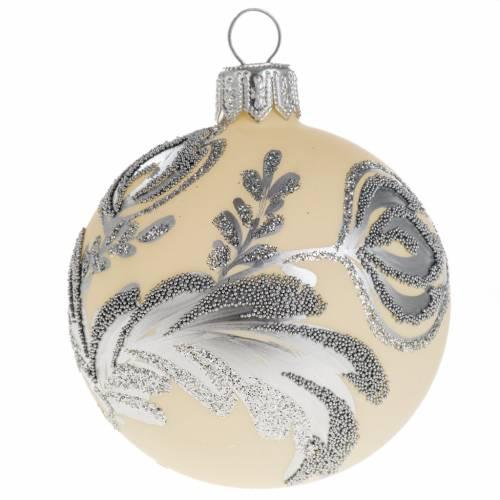 Palla albero Natale vetro argento avorio 6 cm s1