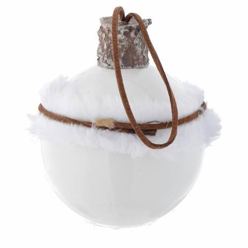 Palla Albero Natale vetro bianco 80 mm simboli natalizi s4