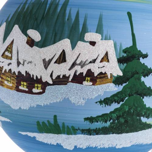 Palla Natale albero paesaggio innevato vetro 14 cm s2