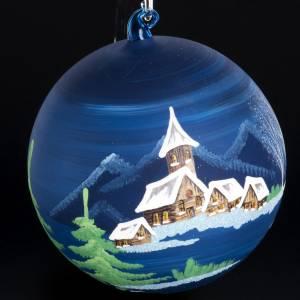 Palla Natale albero paesaggio vetro soffiato 14 cm s3