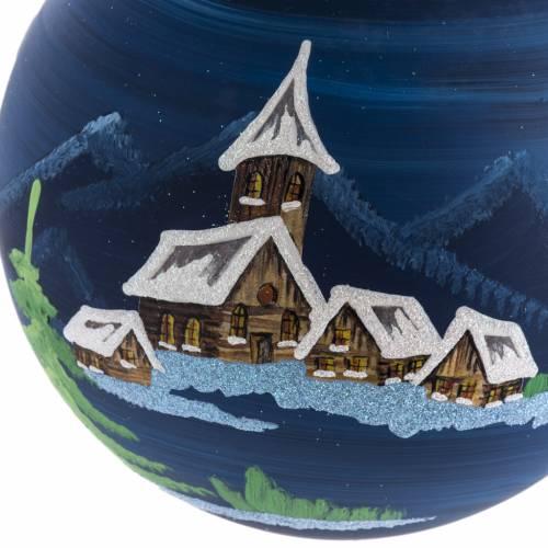Palla Natale albero paesaggio vetro soffiato 14 cm s2