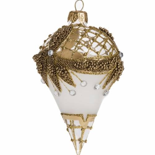 Palla Natale goccia vetro soffiato argento oro 12x8 cm s1