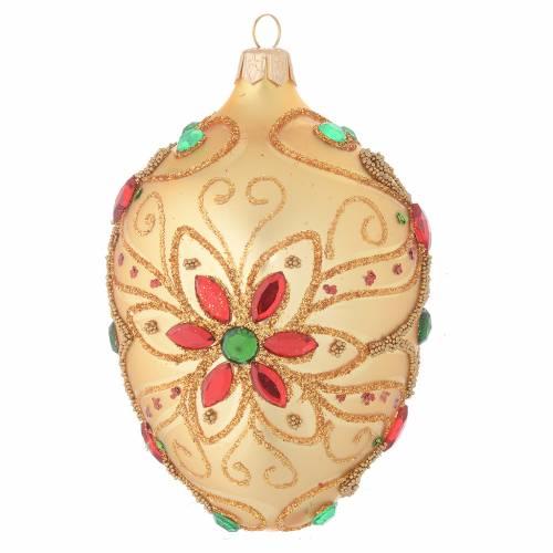Palla Natale ovale in vetro soffiato decoro floreale oro e rosso 130 mm s1