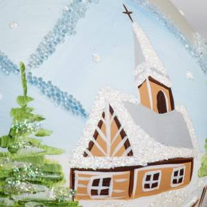 Palla Natale per albero vetro paesaggio innevato 10 cm s3
