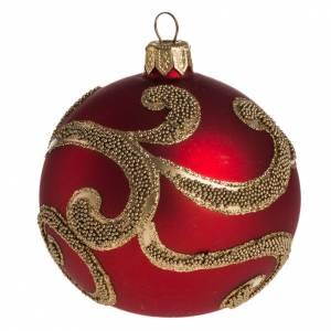 Palla Natale per albero vetro rosso oro 8 cm s1