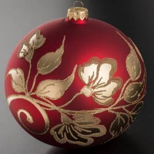 Palla Natale vetro soffiato rosso decori oro 15 cm s2