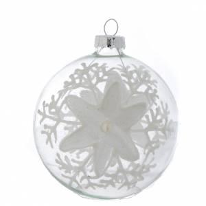 Palline di Natale: Palla Vetro Albero Natale 80 mm trasparente decori bianchi